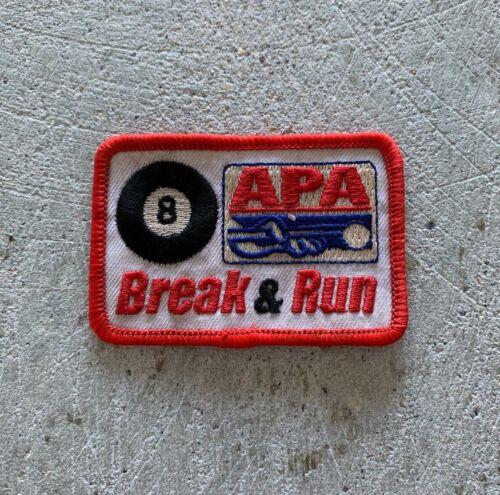 VINTAGE APA POOL BILLIARDS 8-BALL BREAK & RUN SEW ON PATCH BLACK KEYS