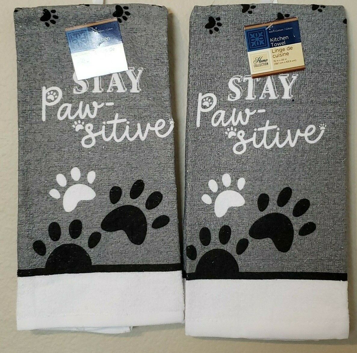 """Home Collection Stay Paw-sitive Paw Print Kitchen Towels 15"""""""