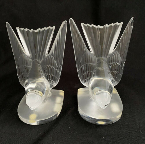 PAIR OF LALIQUE CRYSTAL HIRONDELLE SWALLOW BIRDS BOOKENDS -- SIGNED -- FRANCE