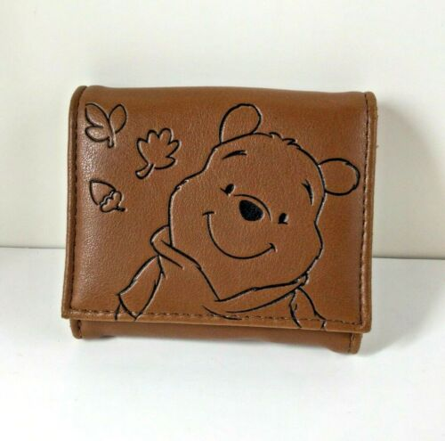 Disney Winnie the Pooh Small Brown Leather Wallet Coins Pocket Zipper Cute