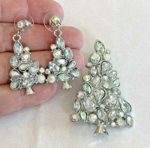 Silver Christmas Tree Brooch & Pierced Earrings Clear Crystal Rhinestones Set