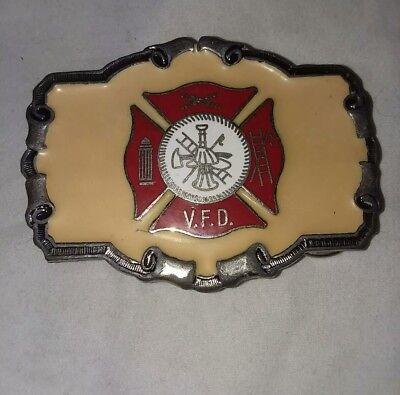 Volunteer Fire Department Firefighter Vintage Just Brass Belt Buckle 1980 LI