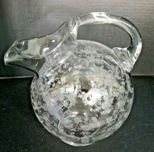 CAMBRIDGE GLASS Chantilly TILT BALL PITCHER JUG EUC