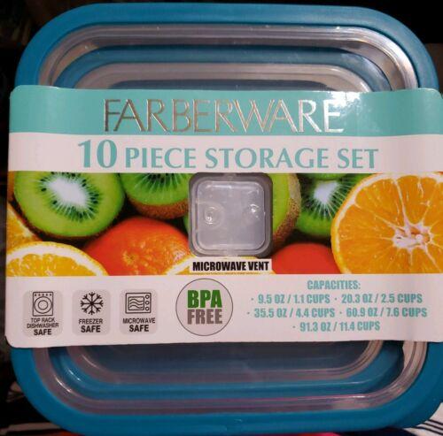 Farberware 10 Piece Food Storage Set BPA Free Microwave and