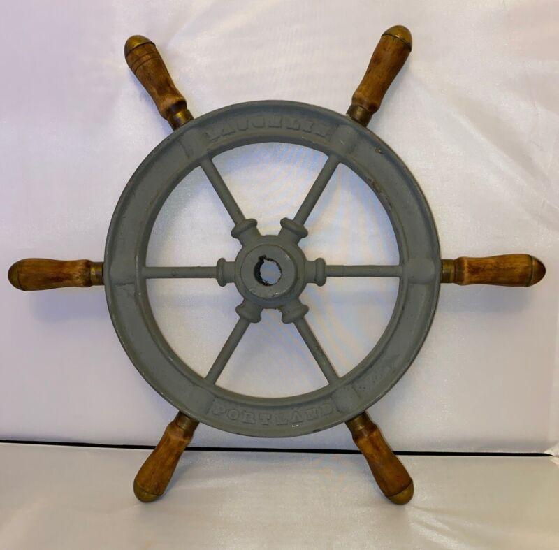 "Antique Laughlin Portland  6 Spoke Sailing Ship Steering Wheel 19 """