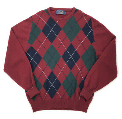 Pringle of Scotland Mens Cashmere Pullover Sweater Size 107 42 Argyle Red