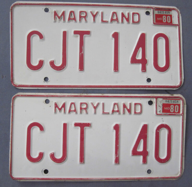 1980 Maryland License Plates Matched Pair