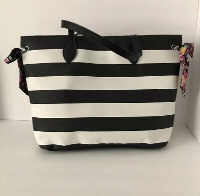 Bows And Bags (Large Black And White Stripped Tote Shoulder Bag With Floral)