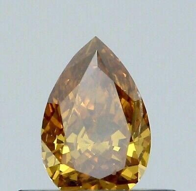0.28 CT PEAR F.DEEP BN. ORANGY. YELLOW COLOR SI1 GIA CERT DIAMOND TAXFREE  Gift
