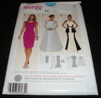 Burda 6869 D0535 Fitted Sheath Dress Bridal Gown Peplum Top Dress 8-18 Sewing