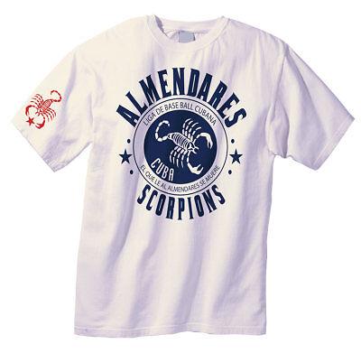 - Short Sleeve ALMENDARES SCORPIONS Cuban Baseball Jersey CUBA T-Shirt 100% Cotton