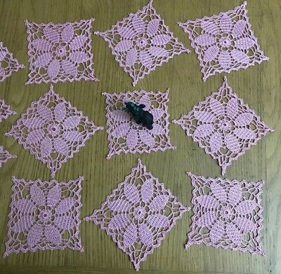 New Lovely Set Of 12 Square Handmade Doilies In Shiny Pink, Good As Coasters