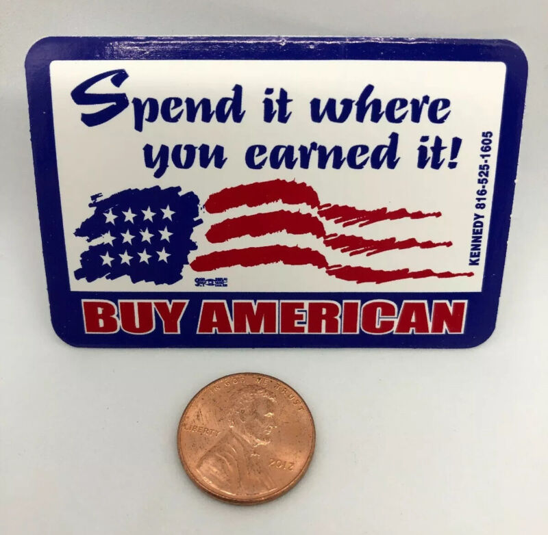 Spend Where You Earned Buy American Union Hard Hat Sticker Decal Red White Blue
