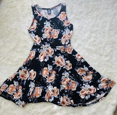 NWT Agnes And Dora Fisher Dress Small Floral Pockets Black/Cream/Lavender/Peach