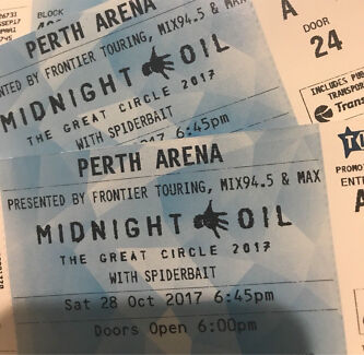 4 Midnight Oil Perth Show Tickets, price reduced