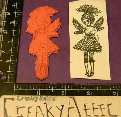GIRL WINGS DRESS HAT ABSTRACT COLLAGE RUBBER STAMP ONLY CREAKYATTIC