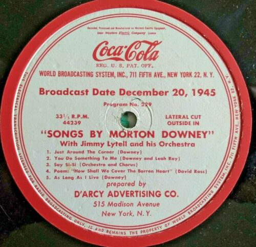 "Coca Cola Sponsored 1945 Radio Program - 16"" Broadcast Disc with Network Sleeve"
