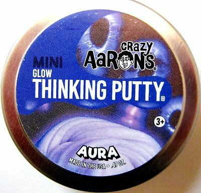 Aura Glow In The Dark Crazy Aarons Thinking Putty New Small 2 Inch Tin  47Oz
