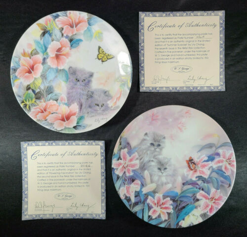 LILY CHANG Kitty Cat Petal Pals Flowers Collector Plate Lot Mint Vintage 🐈