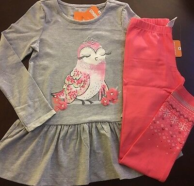 New Gymboree Girl Enchanted Winter Grey Owl Top  Leggings Outfit 4 5 6 7 8 10 12