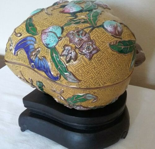 ANTIQUE RARE CHINESE REPOSED ENAMELED CLOISONNE PEACH 1900