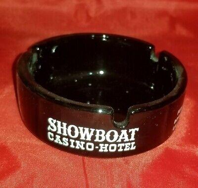 Vintage Showboat Casino Hotel Ashtray Round Black Glass Las Vegas, NV