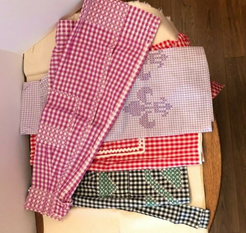 5 Vintage Gingham Chicken Scratch Aprons - 4 Half and 1 Full