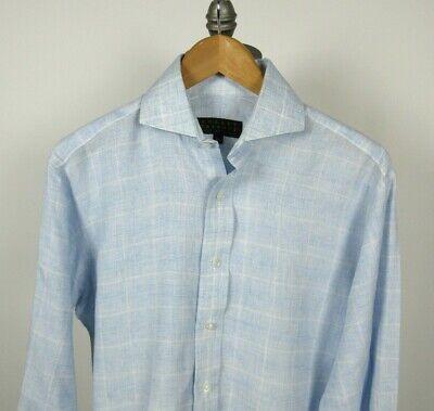 ROBERT TALBOTT Best of Class 100% Linen Shirt Blue White Check Plaid Sz 15 -