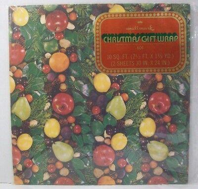 Vintage Hallmark Christmas Gift Wrap New Pine Cone Fruit Apple Pear Lemon Orange