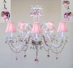 Swarovski Crystal Trimmed Chandelier Lighting W Pink Shades Hearts Hxwfour Ebay