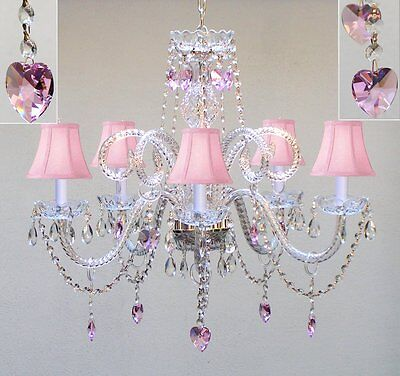 CHANDELIER LIGHTING W/ CRYSTAL PINK SHADES & HEARTS! H 25