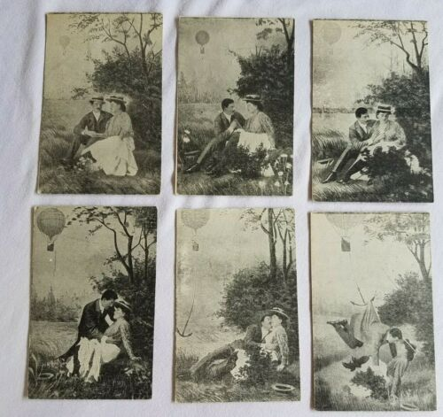 Set of 6 - Gentleman romancing lady, DAD in the balloon? VICTORIAN TRADE CARDS