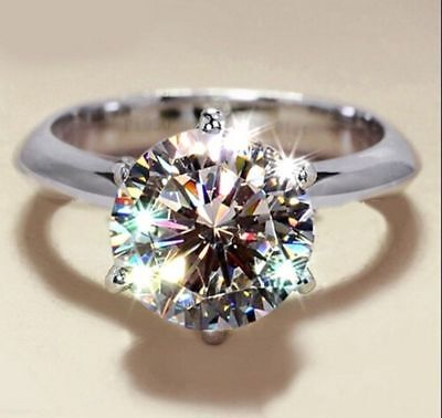 4Ctw Round Cut Diamond Solitaire Engagement Ring 14k White Gold FN Jewelry gift Ctw Round Cut Diamond Solitaire