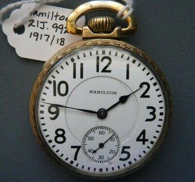 Hamilton 21 Jewel 16 Size Railroad Pocket Watch Mod 992 Gold Filled Needs Repair