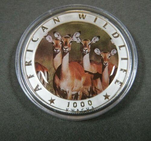 2000 Zambia 1000 Kwacha Silver African Wildlife Female Impalas Unlisted?