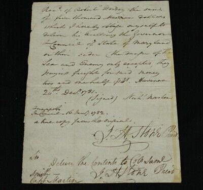 1782 Revolutionary War Letter John Hoskins Stone to Colonel Samuel Smith Signed