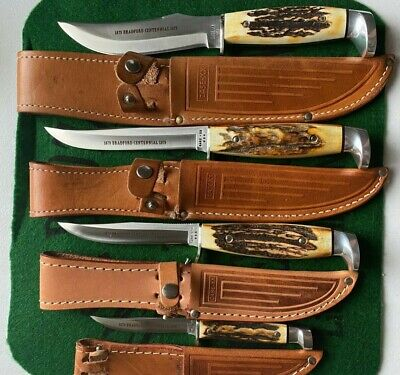 case xx 1979 bradford centennial stag set all 4 fixed blades mint new in box wow