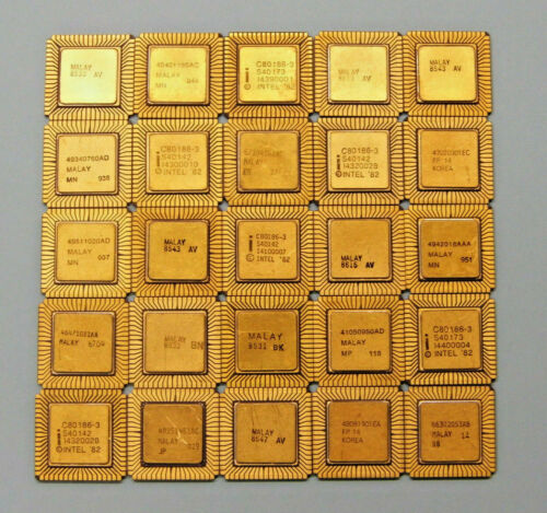 (Lot of 25) Intel 80186 / 80188 Processors Ceramic - for Gold Recovery
