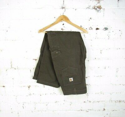 VTG Carhartt Mens Dark Brown Cargo Ripstop Work Pants Trousers Relaxed Fit...