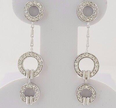 0.65 ct 14k White Gold Round Brilliant Cut Diamond Three Circle Dangle Earrings Diamond Cut Three Circle Earring
