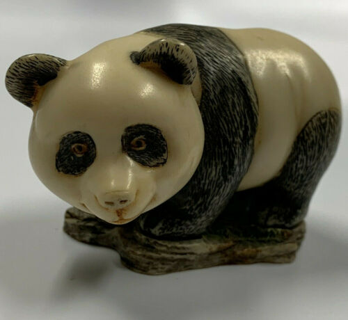 "PANDA BEAR Inuit Art Carving Figurine On Natural Slab 3"" Beautiful Detail"