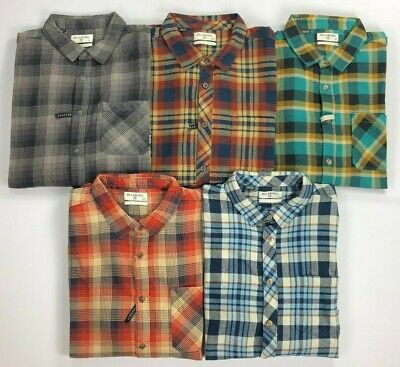 Men's Billabong Core Fit Stretch Wave Washed Plaid Long Sleeve Flannel Shirt