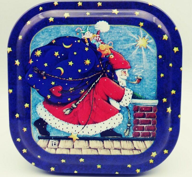 Mary Engelbreit Christmas Tin Santa Believe Blue square