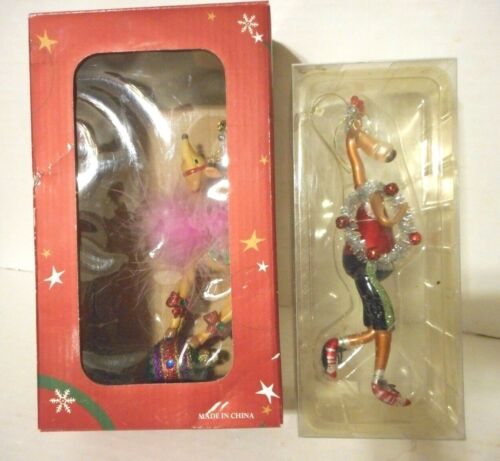 Fanciful Holiday & TJX Handblown Reindeer Ornaments Set of 2