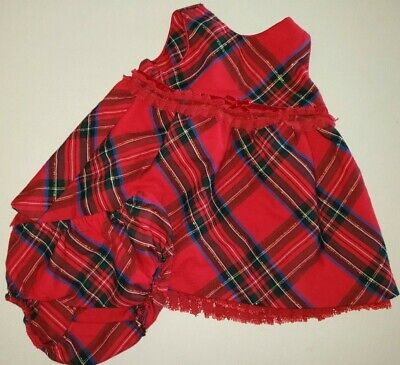 THE CHILDRENS PLACE size 3/6 month CHRISTMAS RED PLAID JUMPER dress SPARKLES 2 P