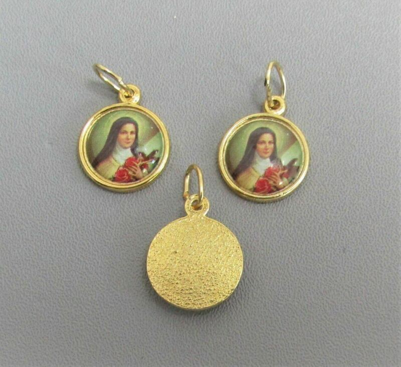 3 pc St Saint Therese Holy Medal Small Charm ITALY Rosary Bracelet A101 GOLD