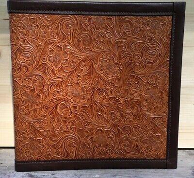 Chestnut Chocolate Western Floral Embossed Cowhide Leather 2 3 Ring Binder