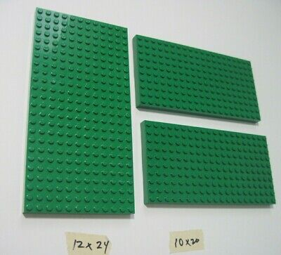 LEGO -3 pc Green -12x24 & 10x20 Standard Thick-Flat Base Plates (3 pieces)