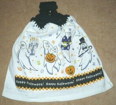 Halloween Happy Ghosts Crochet Top Hanging Towel