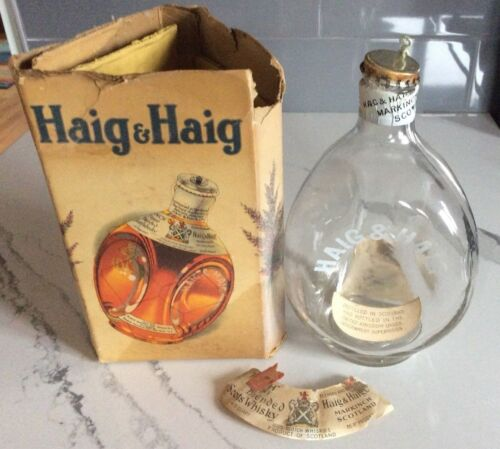 Vintage Haig & Haig Pinch Scots Whiskey Bottle Glass with Wire & Cap. Empty. box